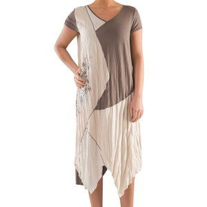 Plus Size Colorblock Knit Linen Dress - La Mouette